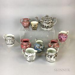 Ten Silver Resist Lustre Vessels