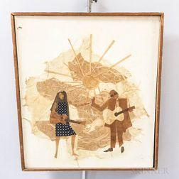 Framed Eric Von Schmidt Figural Collage for the Joan Baez Songbook