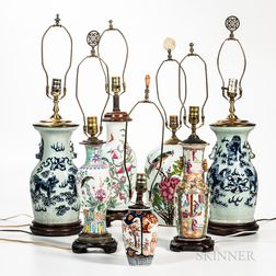 Six Chinese Porcelain Vase/Lamps and a Japanese-style Vase/Lamp
