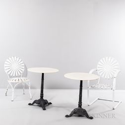 Francois Carre Sunburst Rocking Chair and Side Chair with Two Marble-top Tables