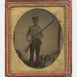 Tintype Of A Hunter And His Dog