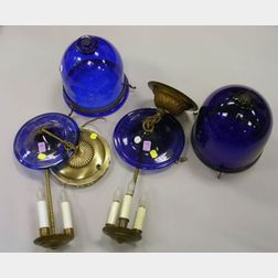 Near Pair of Cobalt Blown Glass Hanging Lamp Shades