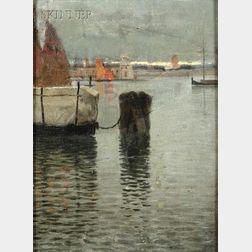 John Joseph Enneking (American, 1841-1916)      Quiet Harbor at Dusk