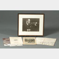 Jascha Heifetz, Signed and Framed Print, 1948