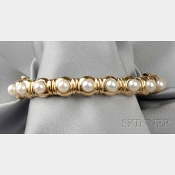 18kt Gold and Cultured Pearl Bracelet