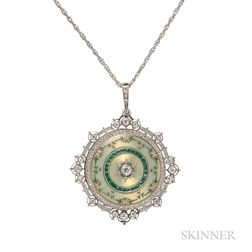 Edwardian Enamel and Diamond Pendant