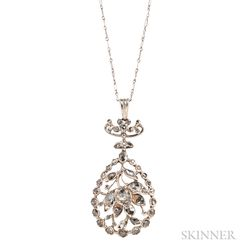 Silver and Rose-cut Diamond Pendant