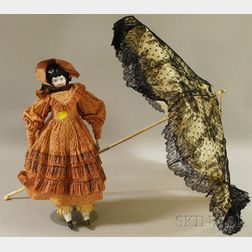 German China Head Doll and a Child's Parasol