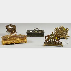 Five Decorative and Hebrew Brass and Metal Articles