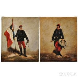 Two Oil Paintings of French Soldiers