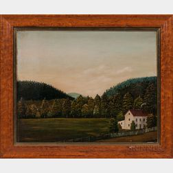 American School, 19th Century      Landscape with White Farmhouse