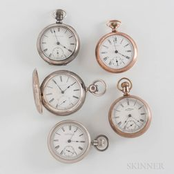 Five 18 Size Waltham Pocket Watches
