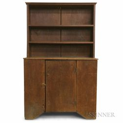Early Red-painted Pine Slant-back Cupboard