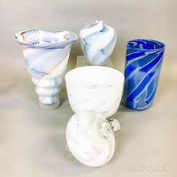 Five Charlie Meaker Art Glass Pieces