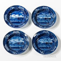 "Four Staffordshire Historical Blue Transfer-decorated ""Landing of Lafayette"" Soup Plates"