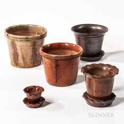 Five Pottery Planters and Flowerpots