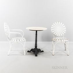 Two Francois Carre Sunburst Chairs and Cafe Table
