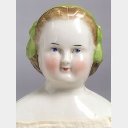Blonde China Shoulder Head Lady Doll with Molded Snood