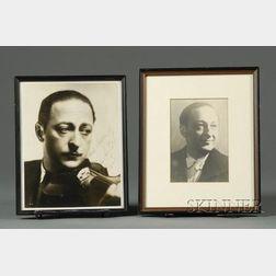Jascha Heifetz, Two Framed Portraits