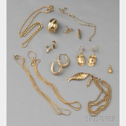 Group of Miscellaneous 18kt and 14kt Gold Jewelry and Findings