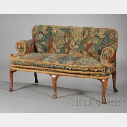 William & Mary Walnut and Tapestry Upholstered Settee