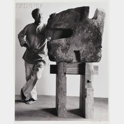 Arthur Mones (American, 1919-1998)      Portrait of Isamu Noguchi with Sculpture.