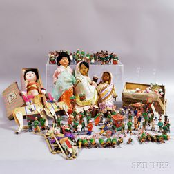 Large Group of Paint-decorated Wood and Paper Funeral Procession China Dolls.     Estimate $40-60