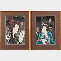 Utagawa Kunisada (Toyokuni III, 1786-1865), Two Woodblock Prints