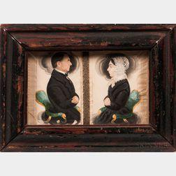 James Sanford Ellsworth (American, 1802/03-1874)      Miniature Portraits of Samuel Parker and Fannie Herrick Parker
