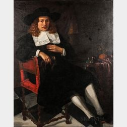 Attributed to Michiel Nouts (Dutch, 1628-1693)      Seated Merchant Wearing a Brimmed Hat and Falling Lace Collar