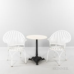 Two Francoise Carre Fan-back Sunburst Armchairs and Cafe Table