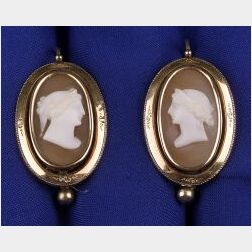 Victorian Shell Cameo Earpendants