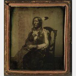 Rare Ambrotype Photograph of Southern Cheyenne Chief War Bonnet
