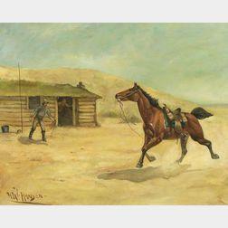 Herman W. Hansen (German/American, 1854-1924)    Bad News at a Pony Express Station