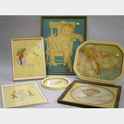 Four Framed Prints of Babies and Children and a Pair of Framed Gladys T. Gibbs   Hand-colored Sketches