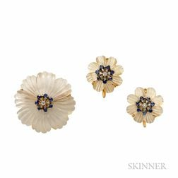 14kt Gold, Carved Rock Crystal, and Sapphire Flower Suite