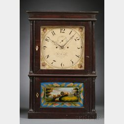Mahogany Four-Column Shelf Clock by Heman Clark