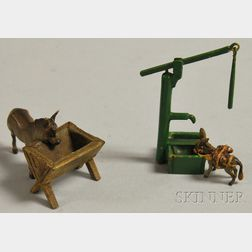 Austrian Miniature Cold-painted Bronze Mule at Trough Figural Group and Tiny   Pack Mule at Water Pump Figural Group