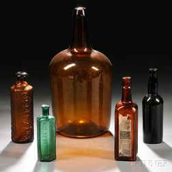 Six Assorted Blown, Blown-molded, and Molded Colored Glass Bottles