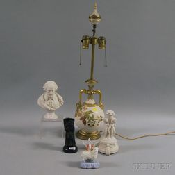 Staffordshire Sheep Figure, a Bronze Figure of an Elderly Woman, Two Parian   Figures, and a Lamp