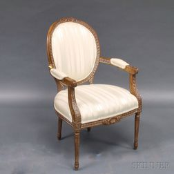 Louis XVI-style Walnut Fauteuil Armchair