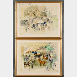After Raoul Dufy (French, 1877-1953)      Two Horse Racing Scenes