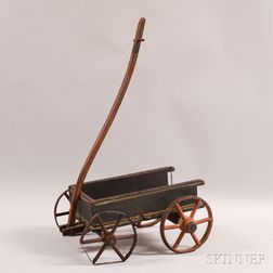 Child's Painted Wood and Wrought Iron Pull Wagon
