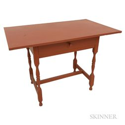 William and Mary-style Red-painted Maple and Pine Tavern Table