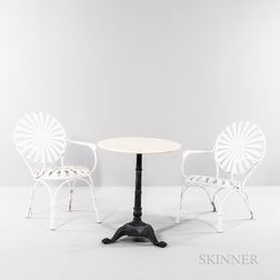 Two Francois Carre Sunburst Armchairs and Marble-top Table