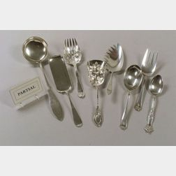 Ten Assorted Sterling, Coin, and Silver Plate Flatware Serving Pieces