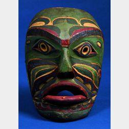 Northwest Coast Polychrome Carved Wood Mask