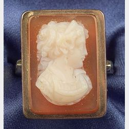 Antique 14kt Bicolor Gold and Hardstone Cameo Ring