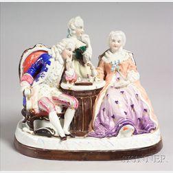 Dresden Porcelain Figural Covered Standish