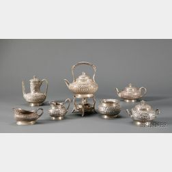 Assembled Tiffany & Co. Seven-Piece Sterling Repousse Tea and Coffee Service